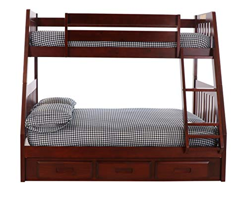 Discovery World Furniture Mission Twin Over Full Bunk Bed with 3 Drawers, Desk, Hutch, Chair and 5 Drawer Chest in Merlot Finish ()