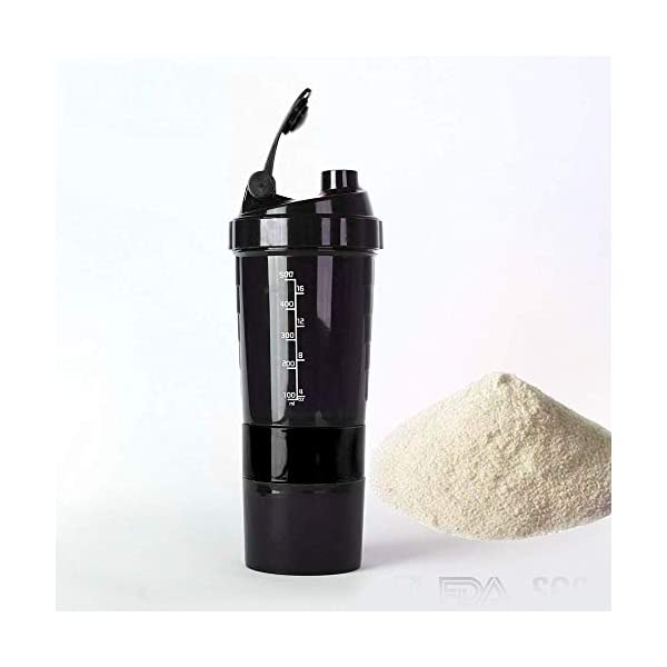 Spider Shaker Bottle 500ml with 2 Storage Extra Compartment for Gym Lover, Protein Shaker Cum Water Bottle 2021 July Sports Spider Shaker Bottle Material: plastic Type: shaker