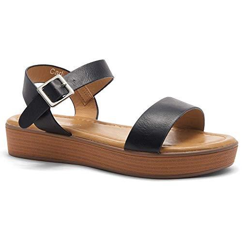 Herstyle Carli Women's Open Toe Ankle Strap Platform Low Wedge Sandals Black/BRN 7.5