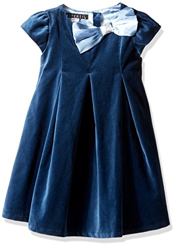 Biscotti Little Girls' Toddler Vision in Velvet Capsleeve Bow Baby Dress, Blue, 3T by Biscotti