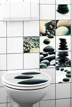 GKA 10er Set Fliesenaufkleber Toilettendeckel Aufkleber Tattoo Fliesen Bad  Stone Steine