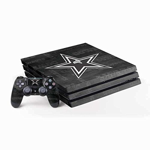 Skinit Decal Gaming Skin for PS4 Pro Console and Controller Bundle - Officially Licensed NFL Dallas Cowboys Black & White Design