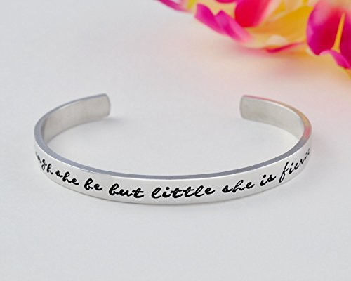 Though She Be But Little She Is Fierce - Hand Stamped Aluminum, Copper Cuff Bracelet, Inspirational Quote Reminder, Best Friends Sorority Sisters Gift, Shakespeare Fans Gift, Graduation Gift
