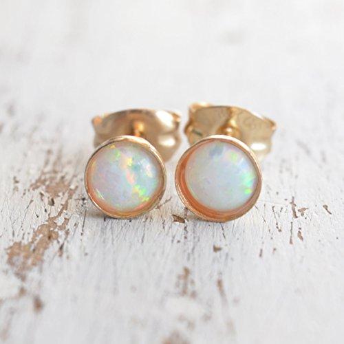 Opal Earrings 14K Gold Filled 4mm White Opal Stone Stud Earrings
