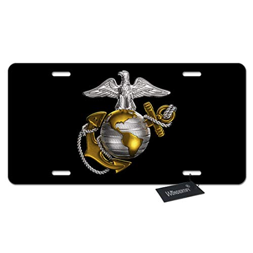 WONDERTIFY License Plate Us Marine Corps Badge on Black Background Decorative Car Front License Plate,Vanity Tag,Metal Car Plate,Aluminum Novelty License Plate for Men/Women/Boy/Girls Car,6 X 12 -