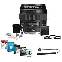 Canon EF 85mm f/1.8 USM AutoFocus Telephoto Lens Kit - Bundle with 58mm Filter Kit (UV/CPL/ND2), Lens Cap Leash, Cleaning Kit, Professional Software Package
