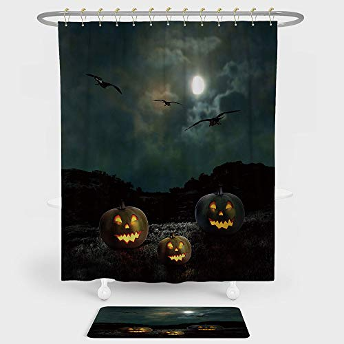 iPrint Halloween Shower Curtain And Floor Mat Combination Set Yard of an Old House at Night Majestic Moon Sky Creepy Dark Evil Face Pumpkins Decorative For decoration and daily use -