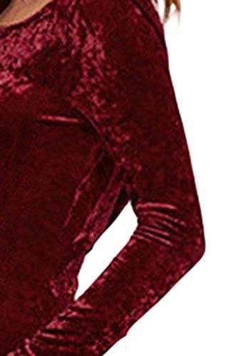 EOZY Tendance Slim Mini-Robe Femme Col Rond Velours Rouge Manche Longue