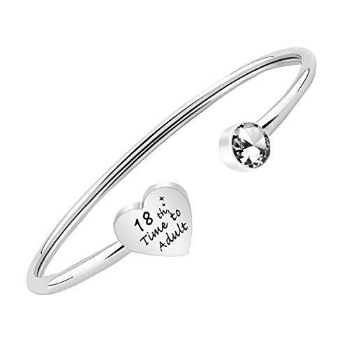 - PLITI Birthday Gifts for Girls Happy Birthday Bracelet 18th Time to Adult (Silver 18th)