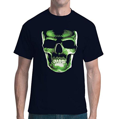 Gothic Fantasy Unisex Tshirt Grüner Totenkopf By Imshirt Navy