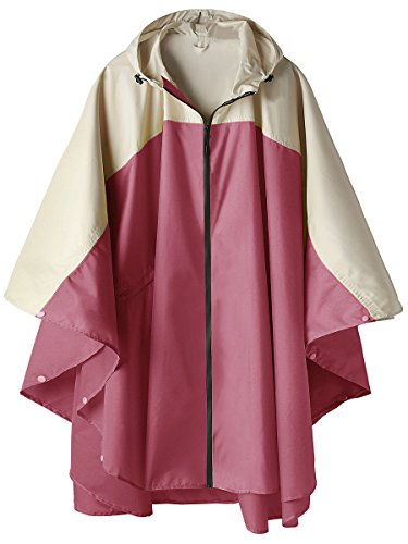 LINENLUX Waterproof Rain Poncho Jacket Coat Hooded Colorblock(Rose Red and Creamy-White)