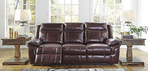 Ashley Zephen Power Reclining Leather Sofa in Mahogany
