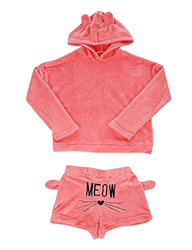 Queen M. Women Girls Fleece Pajamas Cozy Sleepwear Meow Embroidered Hoodie Pullover Shorts Pj Two Piece Set Pajama Party