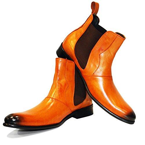 Arancia Stivali Chelsea su in Pelle Handmade Vacchetta Chandro Pelle da Scivolare Verniciata a Modello Italiano Uomo di Mano v80fqFT