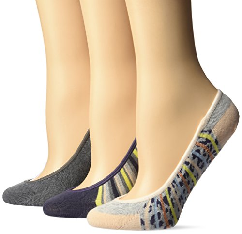 Keds Women's 3 Pack Print Liner Socks, Lurex Animal Stripe Gray, (Lurex Liner)