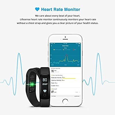 Waterproof Fitness Tracker with Heart Rate Monitor, Step Tracker, Sleep Monitor, Lifesense Fitness Watch with Adjustable Wristband, Support Android and IOS Smartphone