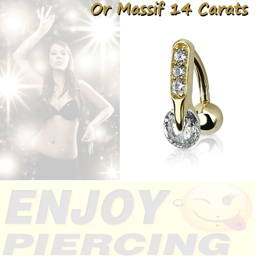 Piercing Nombril Or Massif 14 Carats Or Jaune Inversé Cristal Blanc