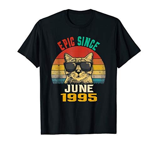 24th Birthday gift Epic Since June 1995 Cat Lover T-shirt