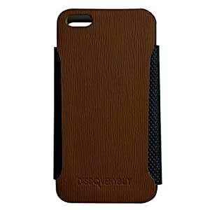 Corticole Lines Pattern PU Full Body Case with Built in Metal Frame for iPhone 5/5S (Optional Colors) , Blue