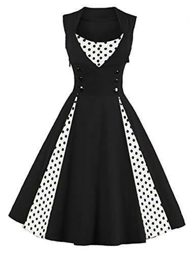 Killreal Women's Sleeveless Vintage Rockabilly Polka Dot Cocktail Party Dress Black (Twenties Dresses For Sale)