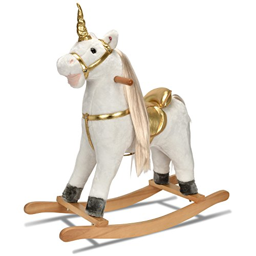 - JOON UNICORN ROCKING HORSE, Designed with Soft Materials, Gold Detailing, Blond Hair with Gold Twisted Horn, Perfect for A Magical Adventure for Your Little One, Realistic Galloping Sounds, White-Gold
