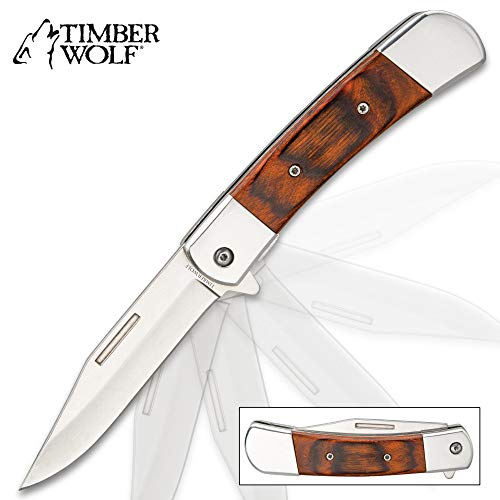Timber Wolf American Classic Pakkawood Handle Pocket Knife - Assisted Opening, Stainless Steel Blade, Flipper - Closed 4 1/2