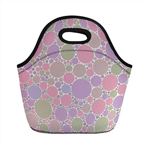 Portable Bento Lunch Bag,Pastel,Soft Large Small Geometric Circle Oval Polka Dots Retro Style Feminine Decorative,Rose Pale Pink and Green,for Kids Adult Thermal Insulated Tote Bags -