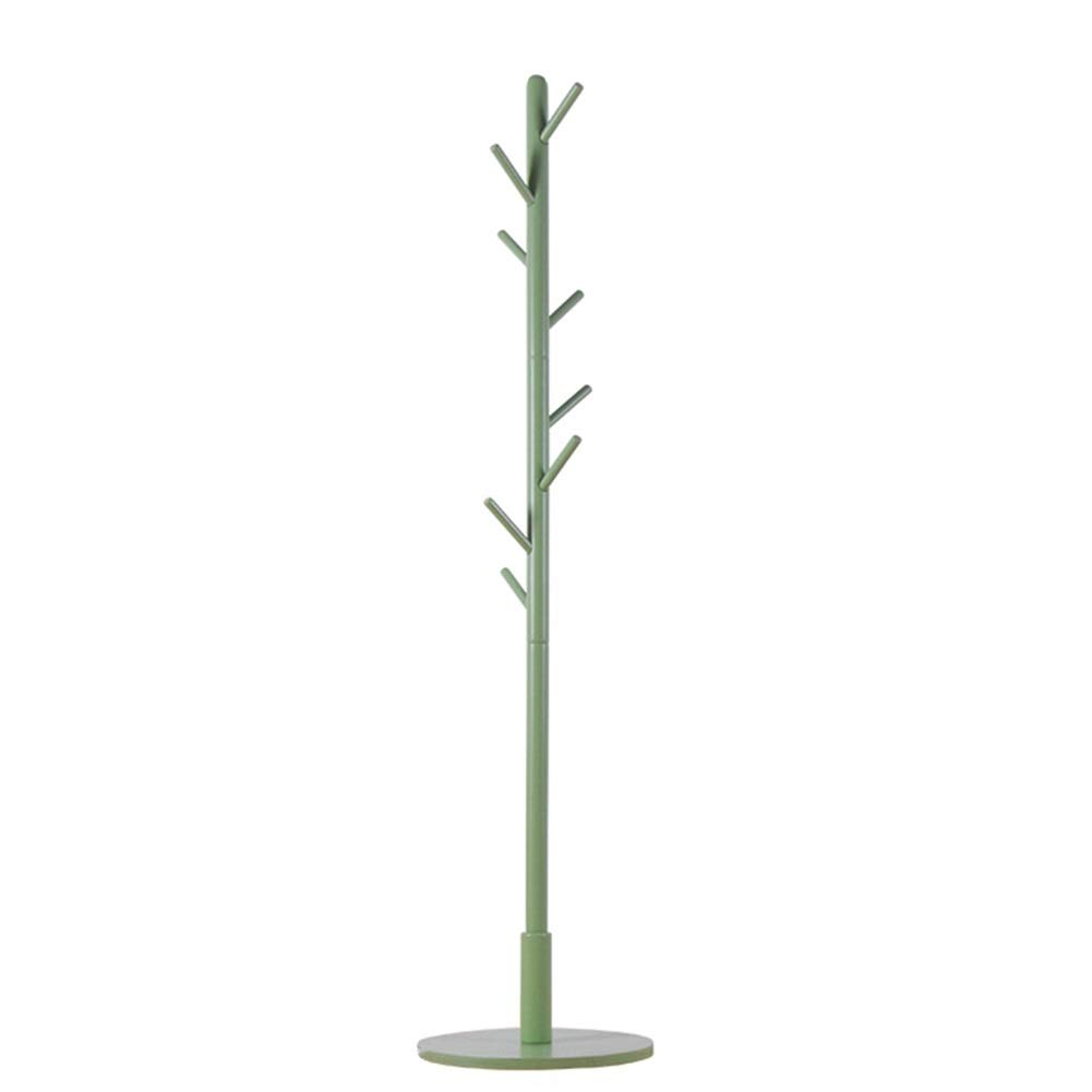 Mint Green Round Floor Standing Hat and Coat Rack Clothes Hat Tree Stand Hanger Solid Wood Bedroom Household Simple greenical Living Room GAOFENG (color   Yellow, Size   Triangle)