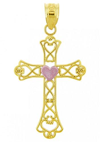 10 ct 471/1000 Or Avec Deux Tons Coeur Croix Pendentif