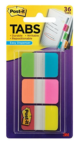 - Post-it Tabs, 1 in. Solid, Aqua, Yellow, Pink, Red, Green, Orange, Durable, Writable, Repositionable, Sticks Securely, Removes Cleanly, 6/Color, 36/Dispenser, (686-ALOPRYT)