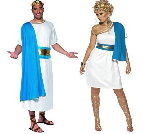 Ladies UK 1618 & Mens Medium Couples Mens and Ladies Roman Toga Party Historical Ancient Greek Greecian Fancy Dress Costumes Outfits (Ladies UK 1618 & Mens Large)