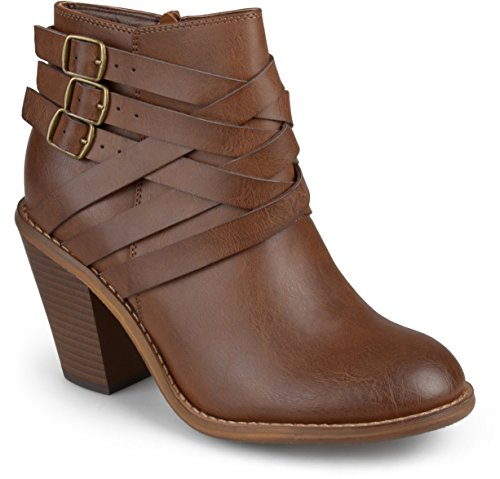 (Brinley Co Women's Buckle Ankle Boot, Brown, 12 Regular US)
