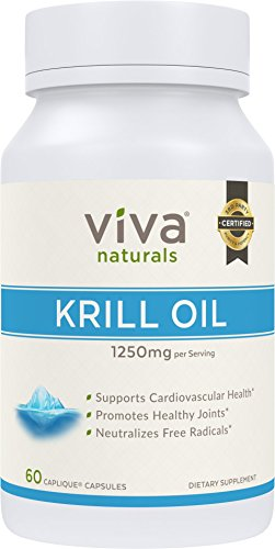 Viva Naturals Krill Oil - 100% Pure Cold Pressed Antarctic Krill Oil, 1250 milligram/serving, 60 Capliques