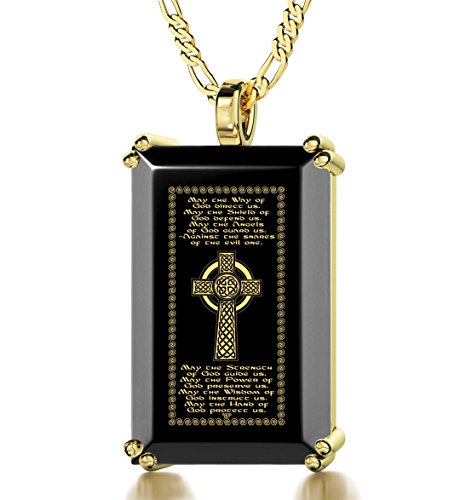 (Nano Jewelry Gold Plated Men's Celtic Cross Necklace Irish Blessing 24k Gold Inscribed on Onyx Christian Pendant, 20