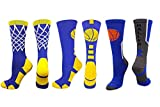 MadSportsStuff Basketball Socks with Logo Baller Net 3 Pack (3 Pack Royal/Gold, Large)