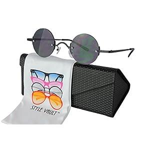 V143-ec X-small Size Tiny Lens Round Metal Sunglasses (C034 Shield black-dark, clear)