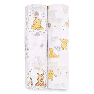 Aden by aden + anais Disney Swaddle Blanket, Muslin Blankets for Girls & Boys, Baby Receiving Swaddles, Ideal Newborn Gifts, Unisex Infant Shower Items,Wearable Swaddling Set, 2 Pack, Winnie The Pooh
