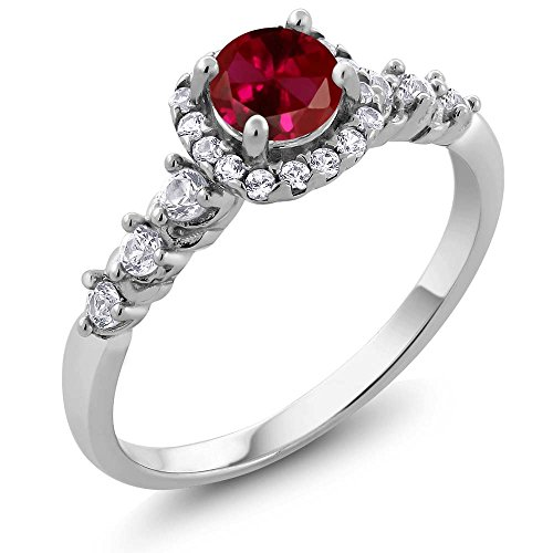 1.02 Ct Round Red Created Ruby White Created Sapphire 925 Sterling Silver Ring (Ring Size 5)