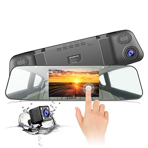 "Jeemak Backup Camera 4.3"" Touch Screen Mirror Dash Cam 1080P Rearview Front and Rear Dual Lens Dashboard Recorder with Waterproof Reversing Camera"