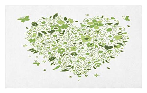 Hearts Sketch (Lunarable Apple Green Doormat, Sketch Style Heart Shape with Hand Drawn Butterflies and Flowers, Decorative Polyester Floor Mat with Non-Skid Backing, 30 W X 18 L inches, Apple Green Emerald Wihte)
