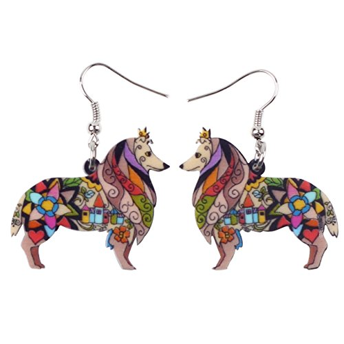BONSNY Dog Collection Border ROUGH COLLIE Statement Acrylic Pop-Art Long Drop Dangle Women Earrings (Brown)