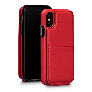 Sena Wallet Skin - Drop protection Genuine leather bifold wallet card holder case for iPhone X - Red