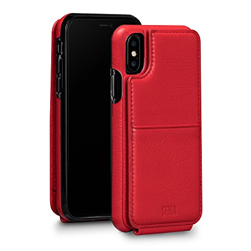 Sena Wallet Skin - Drop Protection Genuine Leather Bifold Wallet Card Holder Case For Iphone X Xs - Red