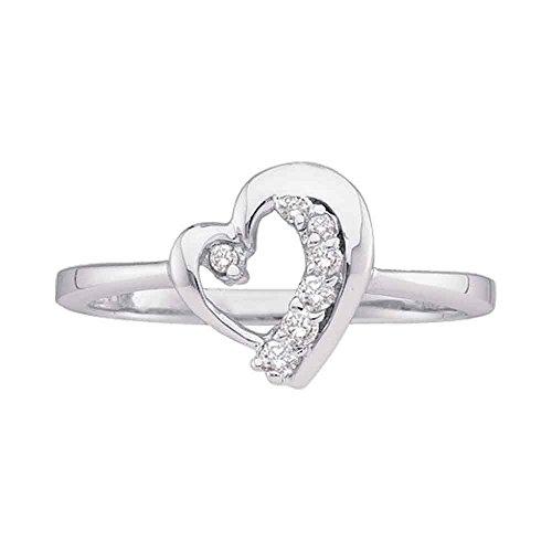 Heart Journey Ring (10kt White Gold Womens Round Diamond Heart Journey Ring 1/10 Cttw)