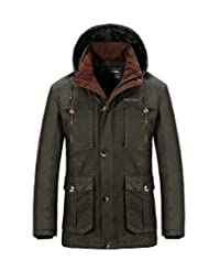 Nyngei Men's Outdoor Windproof Cotton Jacket Hooded Warm Thickening Trench Coats