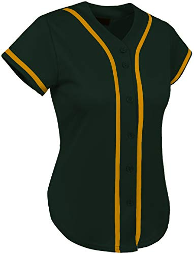 - Hat and Beyond Womens Baseball Button Down Tee Short Sleeve Softball Jersey Active T Shirts (2X-Large, 3up01 Hunter Green/Gold)