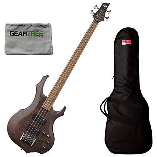 ESP LTD F-204FM WBS 4-String Walnut Brown Bass Guitar Bundle w/Gig Bag and Clot