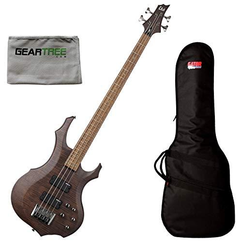 ESP LTD F-204FM WBS 4-String Walnut Brown Bass Guitar Bundle w/Gig Bag and Clot ()