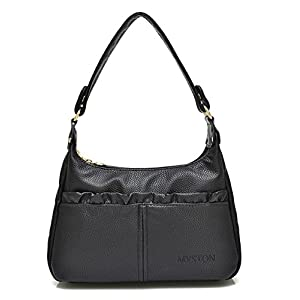 Bagtopia Women's Double Zipper Soft Hobo Style PU Leather Purse Shoulder Bags Small Cross-body Handbags(Black)