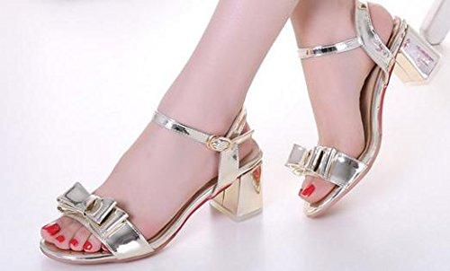 Laruise Women's Sweet Mid-heel Sandal Gold Y0uHEvbjc
